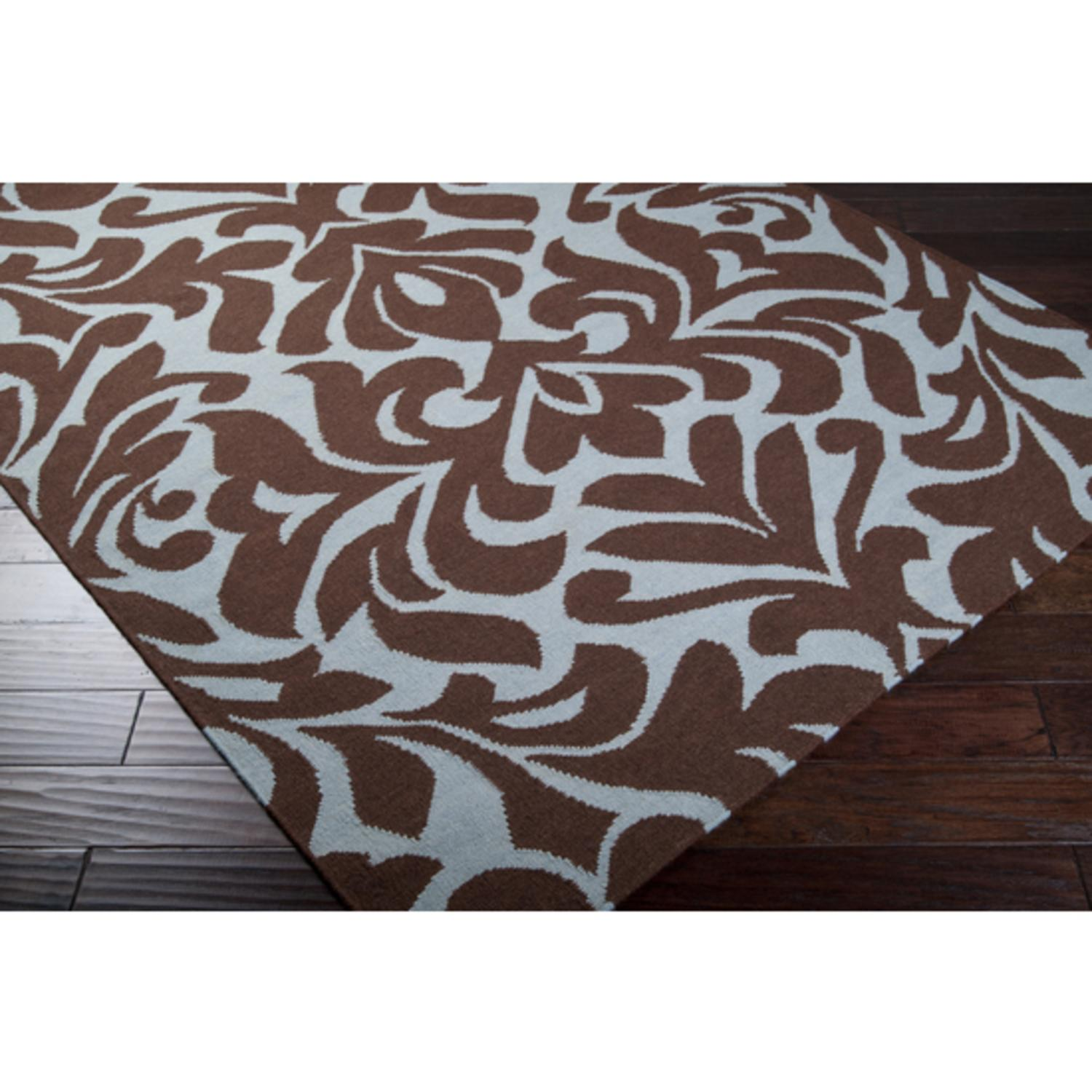 2' x 3' Floral Brise-Soleil Chocolate Brown Wool Area Throw Rug
