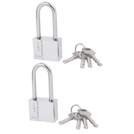 2pcs 6mm Dia Metal Lock Shackle Rectangle Shaped  Security Padlock with key Body Anti-theft