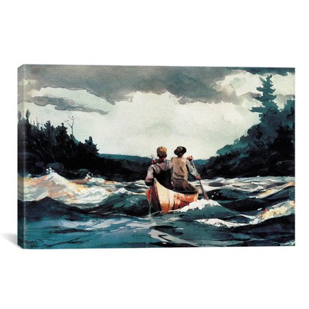 iCanvas 'Canoe in The Rapids 1897' by Winslow Homer Painting Print on Canvas