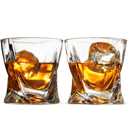 Leoney European Style Cocktail and Whiskey Glass Set of 2 - With Magnetic Gift Box - Aristocratic Exquisite Quadro Design Whiskey Glasses - for Liquor Alcohol Bourbon Scotch & Old fashioned Cocktails ()