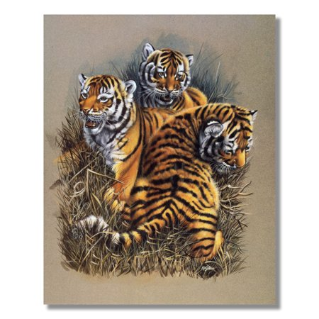 African Tiger Cat Cubs Kids Wall Picture Art Print