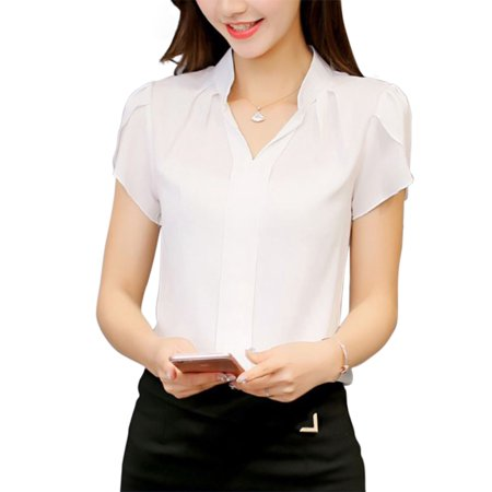 Short Sleeve Womens Blouse - Nicesee Casual Womens Short Sleeve V-neck Chiffon Blouse