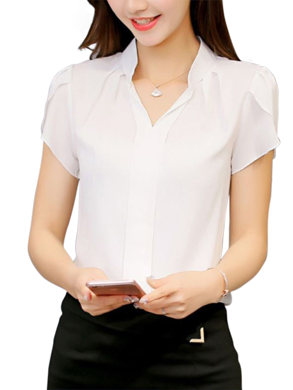 Nicesee Casual Womens Short Sleeve V-neck Chiffon Blouse