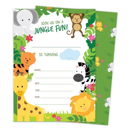 Jungle Happy Birthday Invitations Invite Cards (25 Count) With Envelopes & Seal Stickers Boys Girls Kids Party](Kids Invitations)