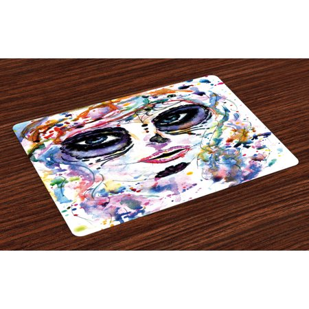 Sugar Skull Placemats Set of 4 Halloween Girl with Sugar Skull Makeup Watercolor Painting Style Creepy Look, Washable Fabric Place Mats for Dining Room Kitchen Table Decor,Multicolor, by Ambesonne