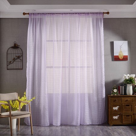 - Pair of Solid Voile Sheer Curtain Panel Drapes for Window Door Decor