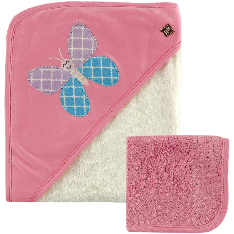 Hudson Baby Girl Bamboo Hooded Towel & Washcloth, 2pc Set by Hudson Baby