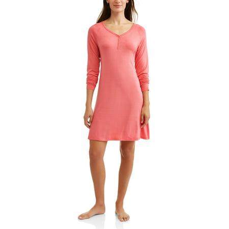 87e9bd4e435bc Nurture by Lamaze - Maternity Nursing Long Sleeve Henley Sleep Gown -  Walmart.com