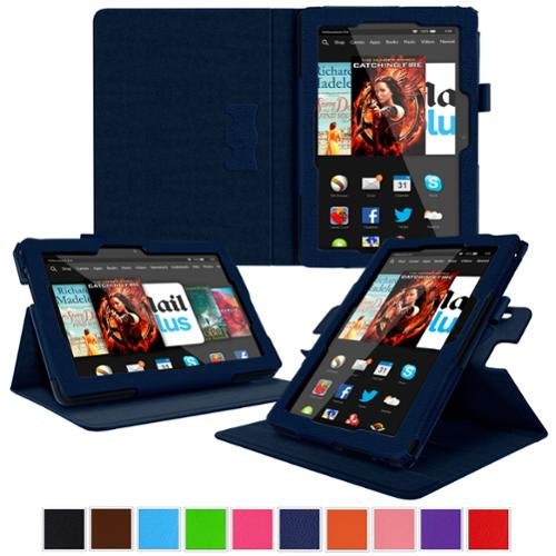 Kindle Fire HDX 8.9 Tablet (2014) Case, roocase new Kindle Fire HDX 8.9 Dual View Folio Case Cover Stand for All-New 2014 Fire HDX 8.9 Tablet (4th Generation), Navy
