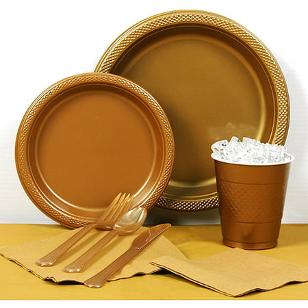 Metallic Gold Plastic Tableware Party Pack for 20 (Gold Tableware)