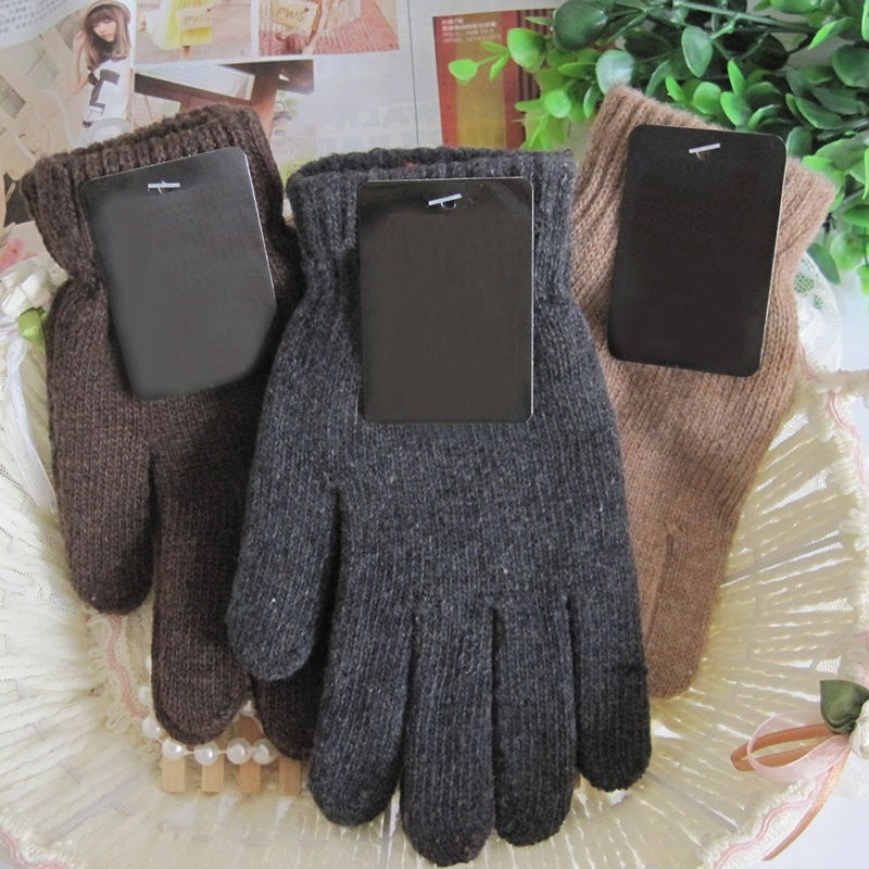 Autumn /& Winter Men/'s Knitted Gloves Male Thicken Wool Mittens Thermal Gloves