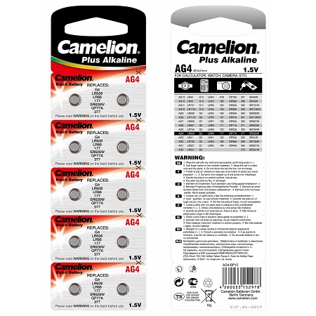 Camelion Long Lasting AG4 / G4 / LR626 / LR66 / 177 / SR626W / GP77A / 377 - Button Cell Battery 1.5 Volt Alkaline (2 packs of 10)