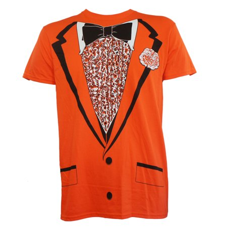 Tuxedo Orange Tux Bow Tie Retro Prom Costume Dumb Dumber Slim-Fit T-Shirt S-2XL