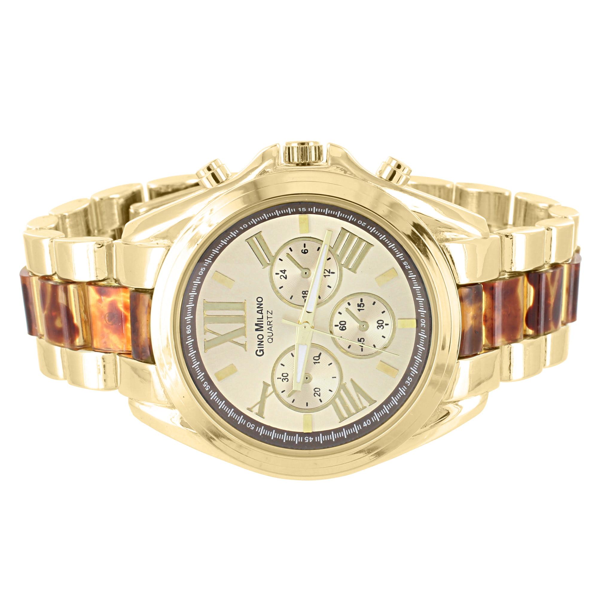 Tiger Eye Link Womens Watch Gold Tone Roman Numeral Dial Gino Milano Quartz Sale