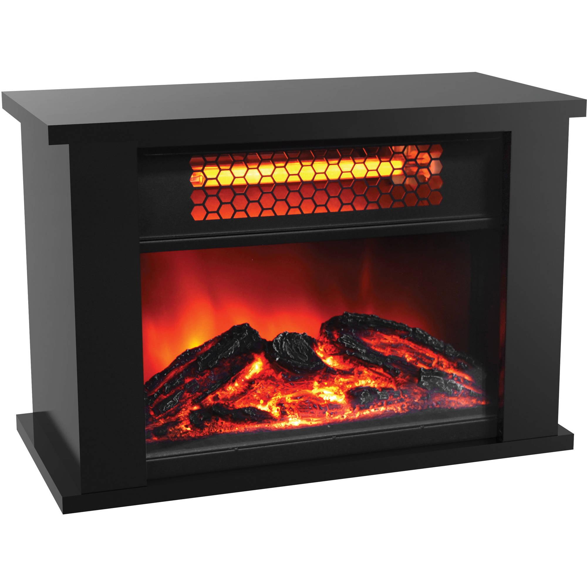 Lifepro Mini Infrared Fireplace Heater Black Walmart Com