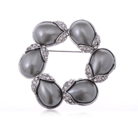Silver Tone Grey Faux Pearl Flower Buds Wreath w Rhinestones Fashion Pin Brooch