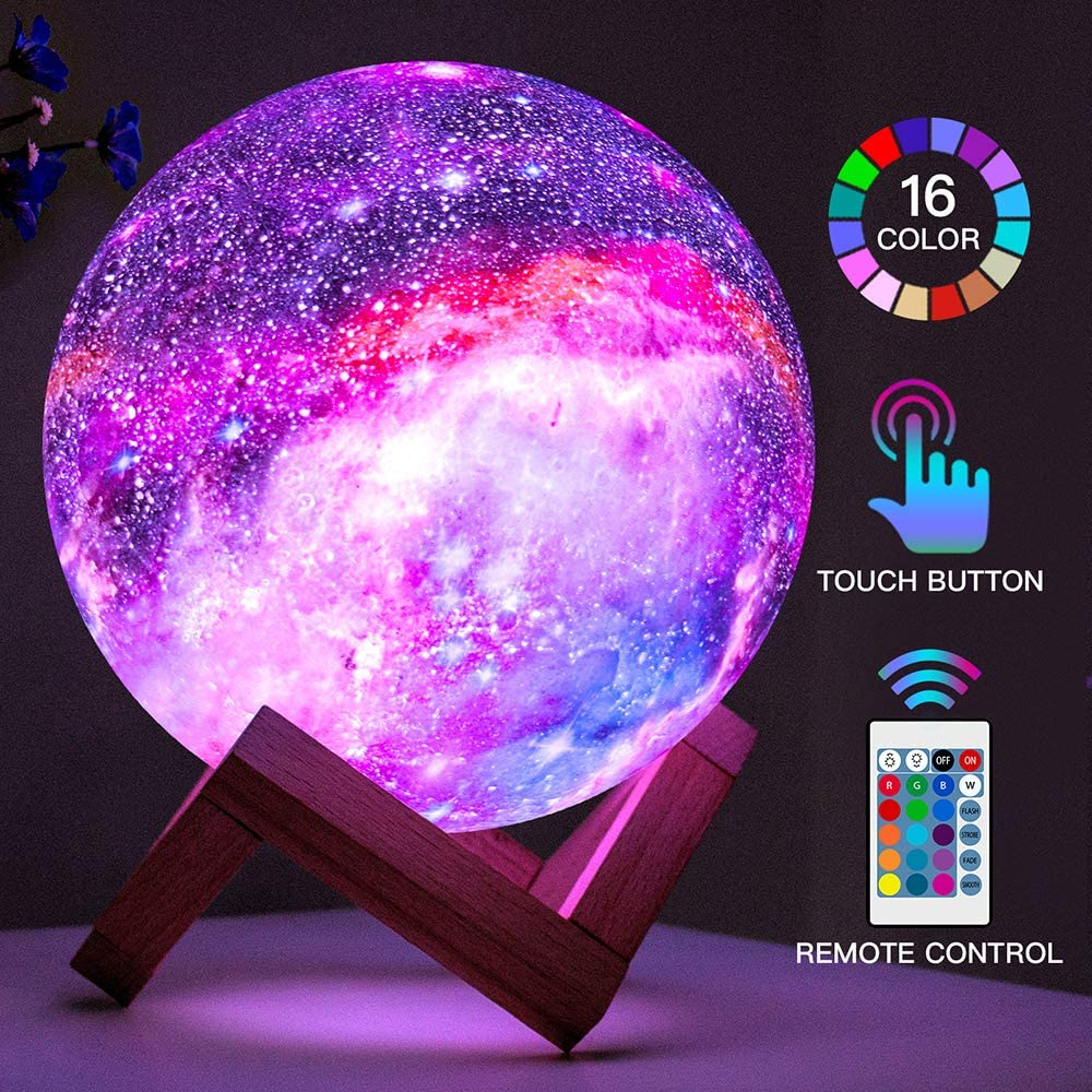 16 Colors LED USB Star Galaxy Moon Lamp w// Stand Remote 3D Bedroom Night Light