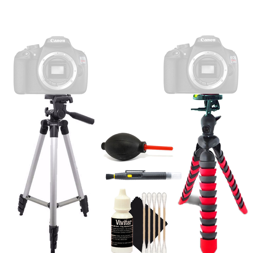 Tall Tripod and Flexible Tripod with Accessory Kit for Canon EOS Rebel SL1 T5i and All Digital Cameras