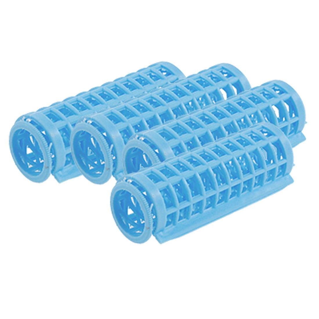 4 Pcs Blue Plastic Hair Roller Curler Hairdressing Tool