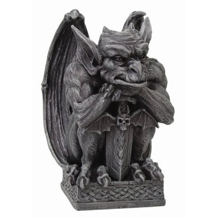 Gargoyle with Shield Statue Cold Cast Resin Figurine, HEIGHT 6.5