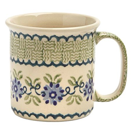 Polish Pottery Blue Floral Basketweave Handmade Mug, 12 Oz