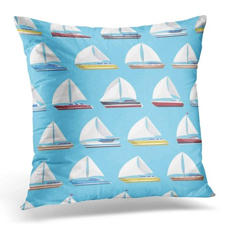CMFUN Sea Sail Yachts Luxury and Speedy Sailboats on Blue Marine Passenger Cruise Ships Worldwide Yachting Pillow Case Pillow Cover 20x20