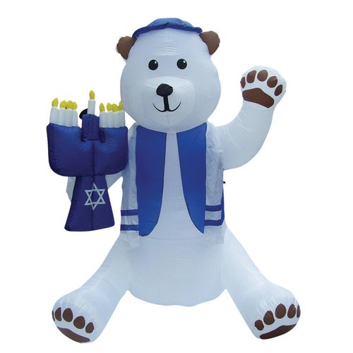 The Holiday Aisle Inflatable Lawn Bear with Menorah Decoration