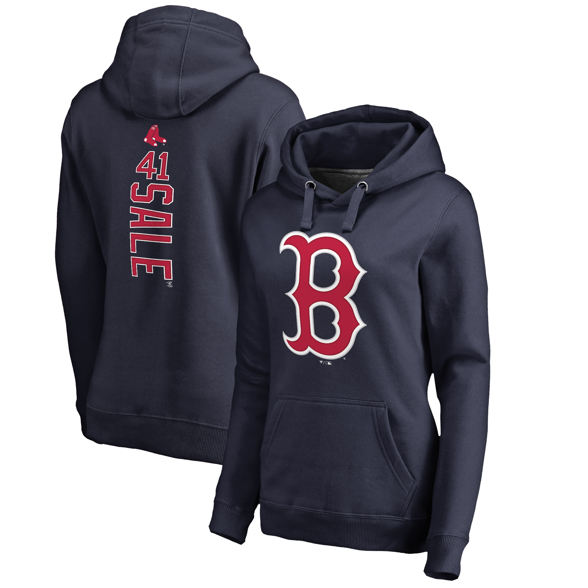 Chris Sale Boston Red Sox Fanatics Branded Women's Backer Pullover Hoodie - Navy
