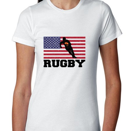 Ladies Home Rugby Shirt (USA Olympic - Rugby - Flag - Silhouette Women's Cotton T-Shirt )