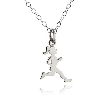 Marathon Necklace (Sterling Silver Running Girl Silhouette Charm Pendant Necklace, 18