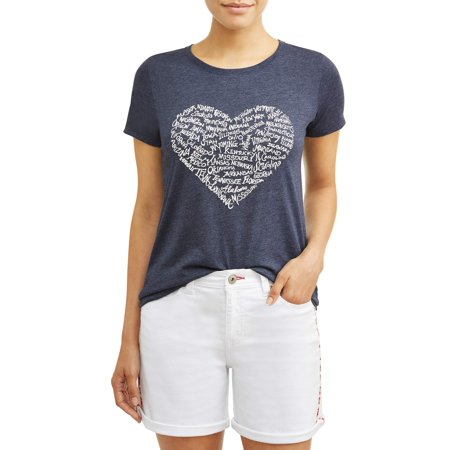 EV1 from Ellen DeGeneres Heart States Crew Neck Tee Women's (Heart Skate)