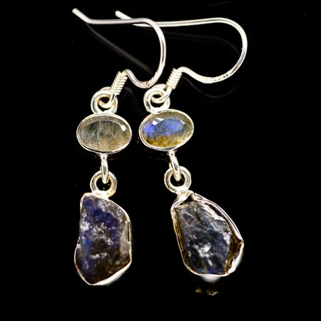 """Rough Labradorite Earrings 1 3/4"""" (925 Sterling Silver)  - Handmade Boho Vintage Jewelry EARR384469"""