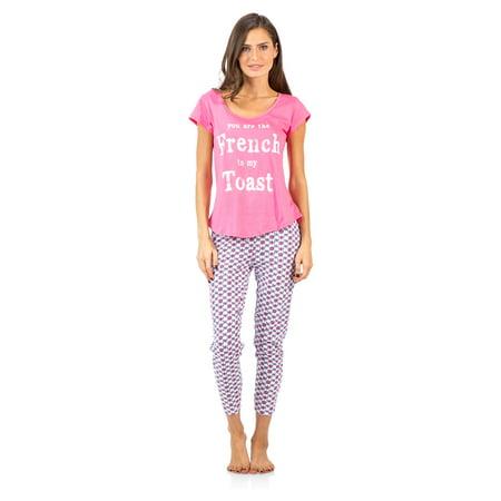 2 Piece Capri Pullover - Casual Nights Women's Short Sleeve Printed Capri Pajama Set
