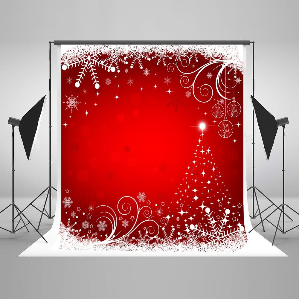 HelloDecor Polyester Fabric 5x7ft Red Christmas Backdrop for Festival Snowflake Background Photo Studio Props