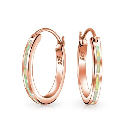 ad65ec32f Bling Jewelry - Created Pink Opal Inlay Flat Tube Large Hoop Earrings For  Women Rose Gold Plated 925 Sterling Silver October Birthstone - Walmart.com