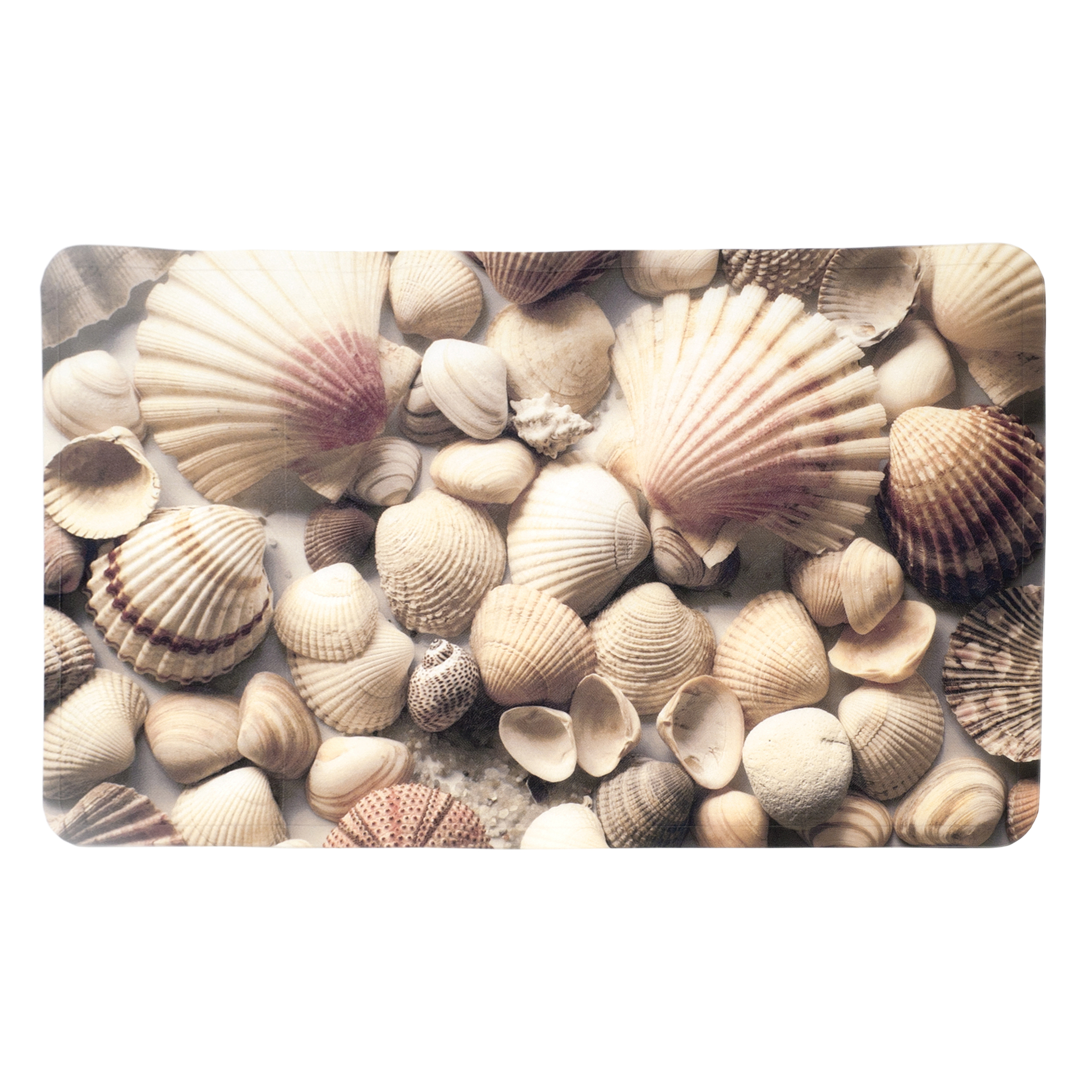 """Splash Home Sea Shells Fabric Printed PVC Bathtub Mats Non-Slip Mildew Resistant Extra Long Machine-Washable with 58 Strong Suction Cups, 16"""" x 27"""" Inch"""