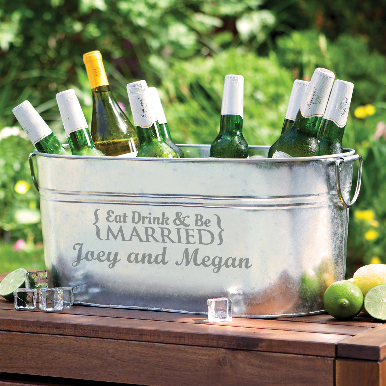 Personalized Eat, Drink and Be Married Beverage Tub