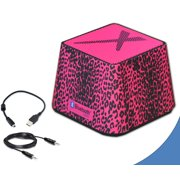 Xit Portable Mini Wireless Bluetooth Speaker in Stylish Hot Pink Leopard, Compatible with IPhone, Ipod, Smartphones and All Bluetooth Enabled Devices + 360-Degree Sound Output