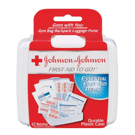 12 Pc First Aid Kit To Go Emergency Home Car Outdoor Set Johnson & Johnson