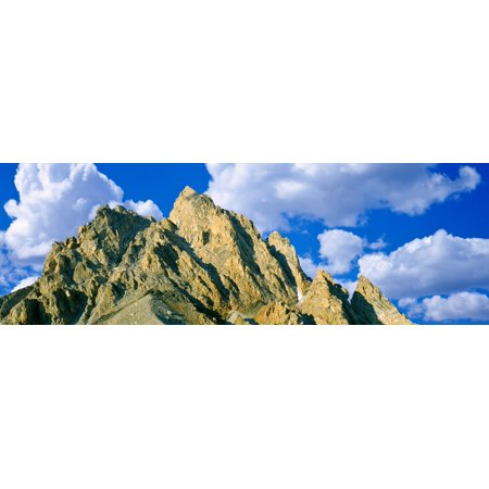Low Angle View Of Clouds Over Mountain Peak Exum Ridge Grand Teton National Park Wyoming Usa Canvas Art   Panoramic Images  12 X 36