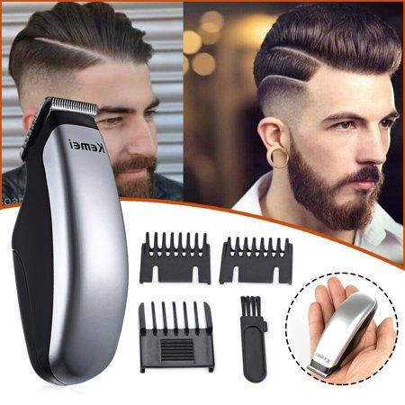 Kemei Mini Portable Hair Clipper Shaver Set Stainless Steel Pro Electric Low-Noise Hair Beard Trimmer Hair Cut Rechargable Razor for Men/Women w/ 3pcs Limit Combs - image 1 of 1