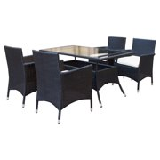 Manhattan Comfort Mulberry 5 Piece Wicker Patio Dining Table Set