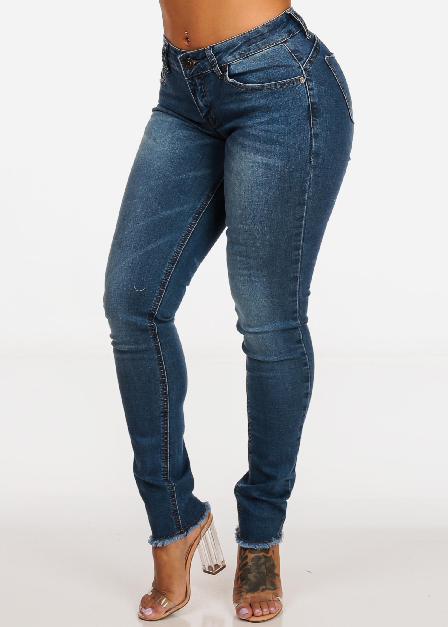 Womens Juniors Butt Lifting Mid Rise Med Wash 1 Button Raw Hem Skinny Jeans 10710N