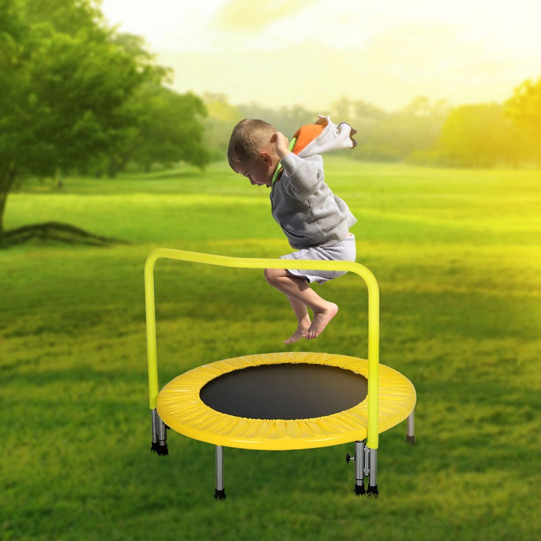 Rebounder Trampoline with Hand Rail Bouncing Workout Training Exercise