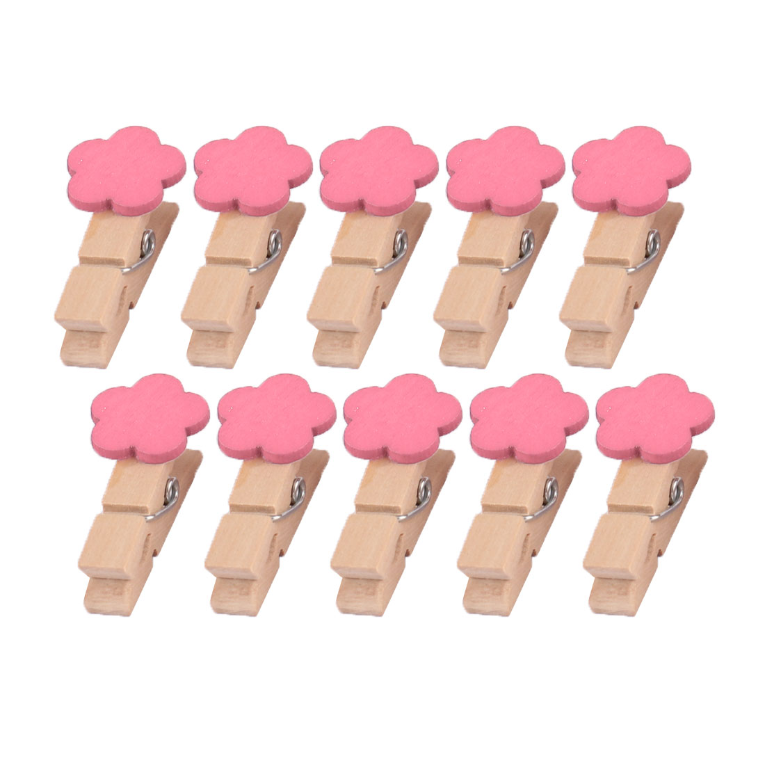Home Wooden Flower Shaped DIY Craft Photo Picture Card Hanging Clip Pink 10pcs