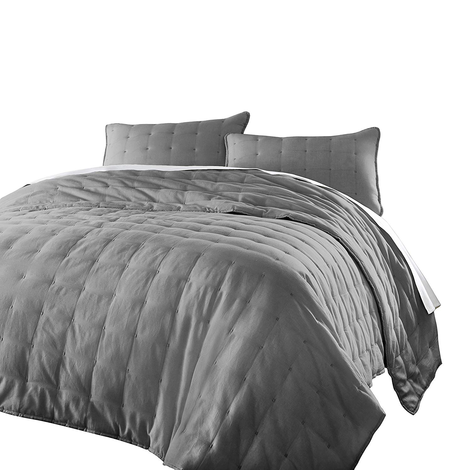 Chezmoi Collection Riley 3-Piece Tufted Reversible Soft Cotton Quilt Set
