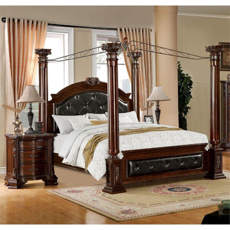 Furniture of America Harrington 2-Piece Queen Canopy Bedroom Set in Brown -  Walmart.com