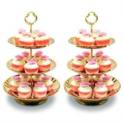 two set of three tier cake stand and fruit plate by imillet -stainless steel stand of golden for cakes desserts fruits candy buffet stand for wedding &home&party serving platter (2 pack) ...