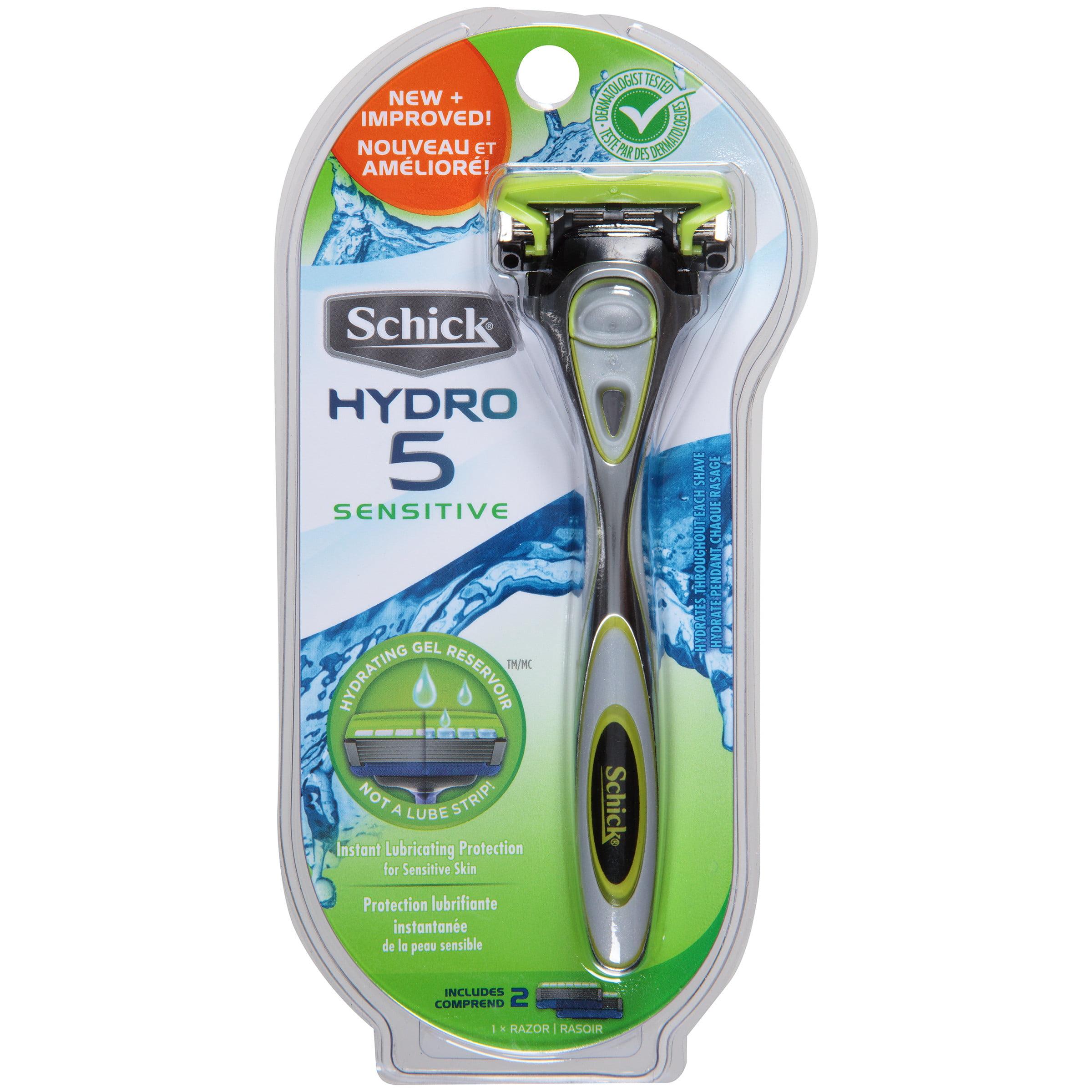 Schick Hydro 5 Sensitive Men's Razor - 1 Razor Handle Plus 2 Refill Razor Blades