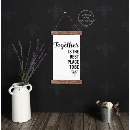 Wood Canvas Sign Wall Hanging Together Best Place Living Room Wall Art (Best Place To Order Canvas Prints)